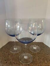 3  Large Tall Red Wine Glasses BLUE Set of 3 ELEGANT