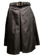 NEW, PRADA BLACK LINED A-LINE SKIRT WITH BELT, 40, $1100