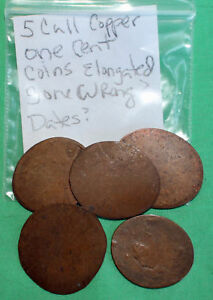 Lot of 5 CULL Copper One Cent Coins Elongated