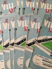 Aston Villa HOME programmes 1950's 1959/60 1960/61 1961/62 League & Cup