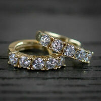 1CT Round Cut Diamond 14k Yellow Gold Over Engagement Small Hoop Earrings