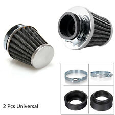 2 x 54mm Motorcycle Cafe Racer Tapered Chrome Pod Air Filter Clean & Hose Clamp