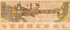 "HUGE Downtown WASHINGTON DC Capital City MAP 1941 Vintage Reprint Poster 24""x55"""