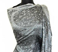 Iridescent Silk in Black and Gray Jamavar Wrap from India Paisley Shawl Pashmina
