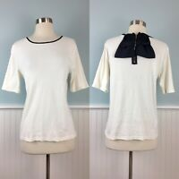 READ Size Large-XL Ann Taylor Women's Knit White Black Bow Trim Top Blouse Shirt