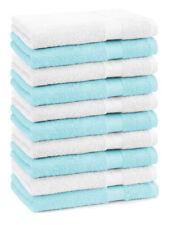 Betz 10 Toallas de cara 30x30cm PREMIUM 100% algodón de color turquesa y blanco