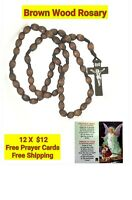 12 x Wholesale Bulk Wooden Catholic Rosary Necklace Baptism with 12 Prayer Cards