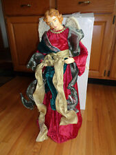 """Christmas Angel Tree Topper/Table Decor 27""""Tall Red Dress, Green & Gold Ribbon"""