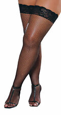 SEXY BLACK FISHNET THIGH HI LACE TOP COSTUME LINGERIE QUEEN SIZE RL0006X