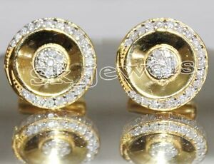 1.60ctw ROUND DIAMOND 14K YELLOW GOLD WEDDING ANNIVERSARY CUFF LINKS