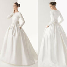White Ivory Wedding Dresses Bridal Ball Gowns Long Sleeves Round Neck A Line New