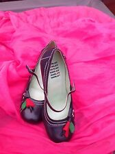 Harlot Shoes Size 6 In Black With Red And Green Leaf Heeled