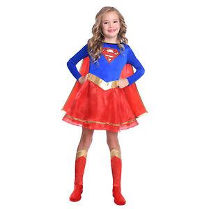Licensed Child Supergirl Fancy Dress Superhero Costume Kids Girls Ages 3-12 New