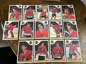 1985-86 O-Pee-Chee CHICAGO BLACK HAWKS 14  card team lot