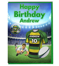 Personalised Rugby Shirt Birthday Card and Badge - Northampton Saints Colours