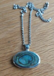 STERLING SILVER ABALONE PENDANT NECKLACE 925