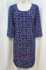 Marc New York Dress Sz 6 Blue Purple Multi Color 3/4 Sleeve Cocktail Party Dress