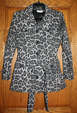 Woman Linea Louis Dell'Olio Leopard Animal Print Top Lined Jacket Coat Size XS