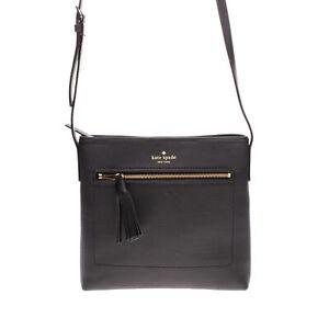 RRP €210 KATE SPADE NEW YORK Leather Crossbody Shoulder Bag Grainy Tassel Zipped