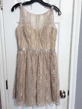 Aidan Mattox Pale Metallic Gold Lace Dress - 4