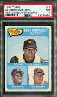 1965 Topps #12 NL SO Ldrs. Veale/Gibson/Drysdale PSA 7 NM