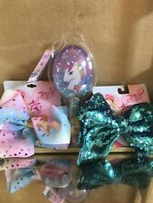 JoJo Siwa Large Cheer Hair Bow Blue Reversible Sequins Pink Unicorn Bow Lot