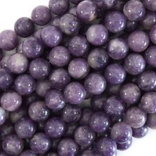 Purple Lepidolite Round Beads Gemstone 15.5
