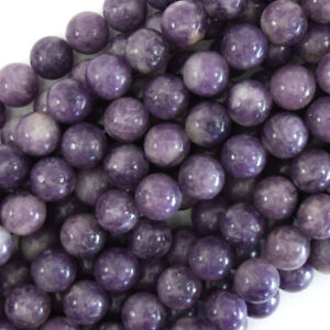 "Purple Lepidolite Round Beads Gemstone 15.5"" Strand 4mm 6mm 8mm 10mm 12mm"