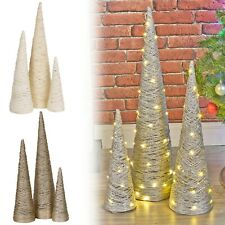 3 Pcs LED Light Up Christmas Tree Cone Pyramids Glitter Ornament Fairy Lights