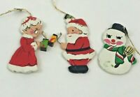 Vintage Christmas Ornaments Wooden Santa Mrs Claus Snowman Lot 3 Inarco