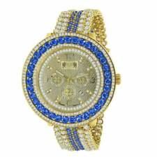 Real Genuine Diamond Blue Sapphire 18K Yellow Gold Tone W/Date Custom Mens Watch