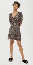 Y# Topshop Womens Black Floral Corset Side Tea Dress Uk 10
