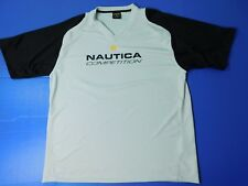 Vintage 90's Nautica Competition S/S Shirt Men's 2XL Tan Black V-neck Spell Out