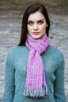 Mucros Pink Mix Mohair Scarf - Made in Killarney Ireland 31a2