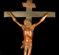 Christ du XVIII éme siècle en bois sculpté crucifix Christus Kruzifix 55cm Jesus