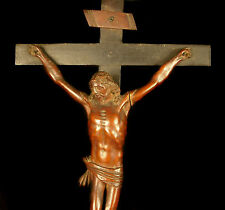 Cristo del XVIII ° secolo in legno lavorato crocifisso Christus 55cm gesù