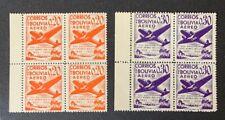 Bolivia Stamps C130 C131 MNHOG V-XF B7/2 2 Blocks Of 4