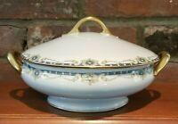 ANTIQUE LS & S Limoges Art Nouveau Oval Serving Bowl w Lid, Rose, Blue, Gold EUC