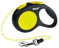 Flexi Neon Reflective Dog Lead Leash ** EVERY SIZE ** Black & Neon Tape OR Cord