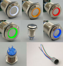 Metal 16mm 12V ON-OFF 5 Pins LED Flat Round Head Maintained Push Button Switch