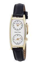 Gotham Women's Gold-Tone Dual Time Zone Leather Strap Watch # GWC15091GBK