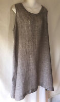 FLAX Engelhart Brown Gray Plaid Linen Simple Pullover Tunic Dress Lagenlook L