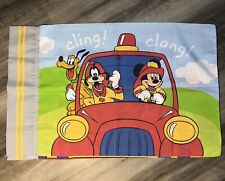 Vintage Disney Twin Flat Sheet And Pillowcase Mickey Mouse And Friends Firemen