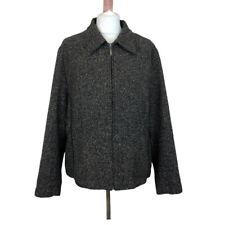 Marks And Spencer Wool Silk Blend Beige Black Fleck Zip Up Coat Jacket Sz 20
