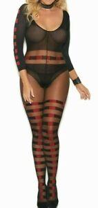 Womens Plus Size Bodystocking Sheer Long Sleeve Bodysuit Lingerie