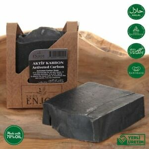 Activated carbon Charcoal Soap Face Body Handmade Cold Processed vegan Natural
