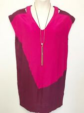 VERONIKA MAINE magenta pink maroon cap sleeve tunic dress sz 14