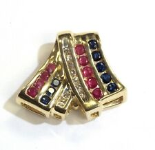14k yellow gold diamond natural gemstone sapphire pendant enhancer slide 4.2g