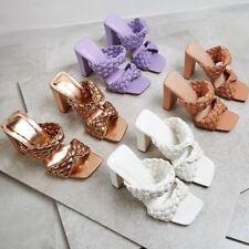Chunky Heel Slide Slippers Knitting Square Toe Sandals Beach Pool Women Shoes