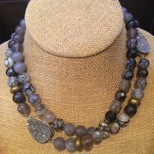 Silpada 'Ode To Geode' Natural Agate, Druzy, & Hematite Necklace in Sterling Sil